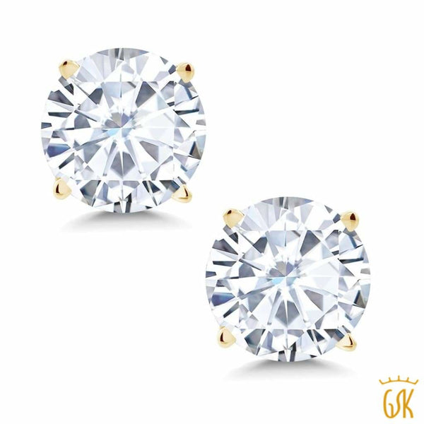1.36 Ct Round 6mm White Created Moissanite 14K Yellow Gold 4 Prong Stud Earrings