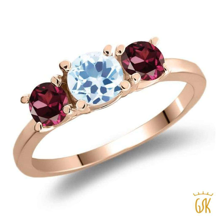 1.44 Ct Sky Blue Topaz Red Rhodolite Garnet 925 Rose Gold Plated Silver Ring - Jewelry
