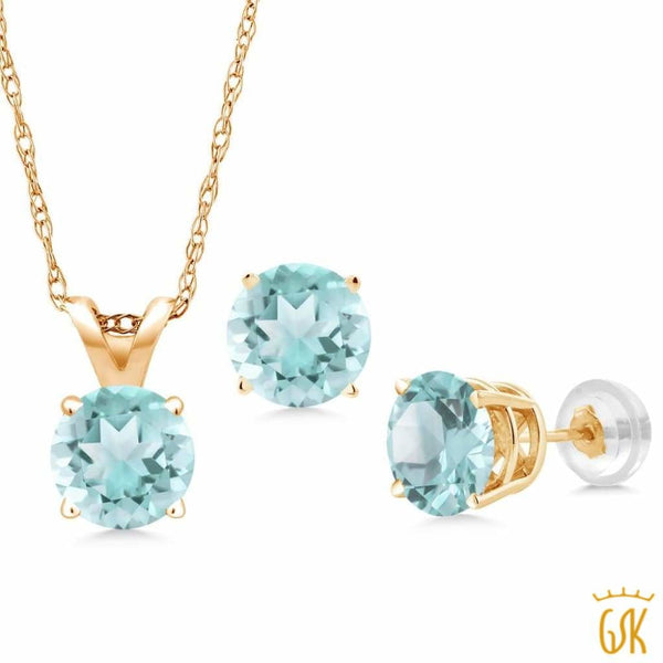 1.50 Ct Round Sky Blue Topaz 14K Yellow Gold Pendant Earrings Set With Chain - Jewelry