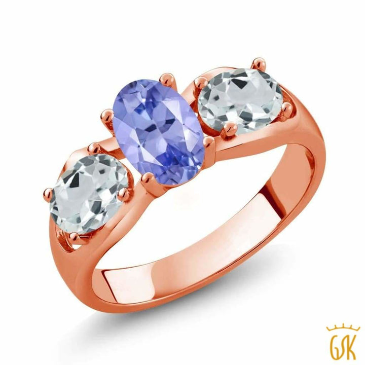 1.61 Ct Oval Blue Tanzanite Sky Blue Aquamarine 18K Rose Gold Plated Silver Ring - Jewelry