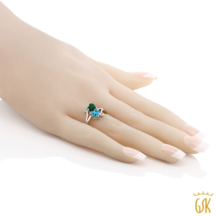 1.66 Ct Green Simulated Emerald Swiss Blue Topaz 925 Sterling Silver Ring - Jewelry