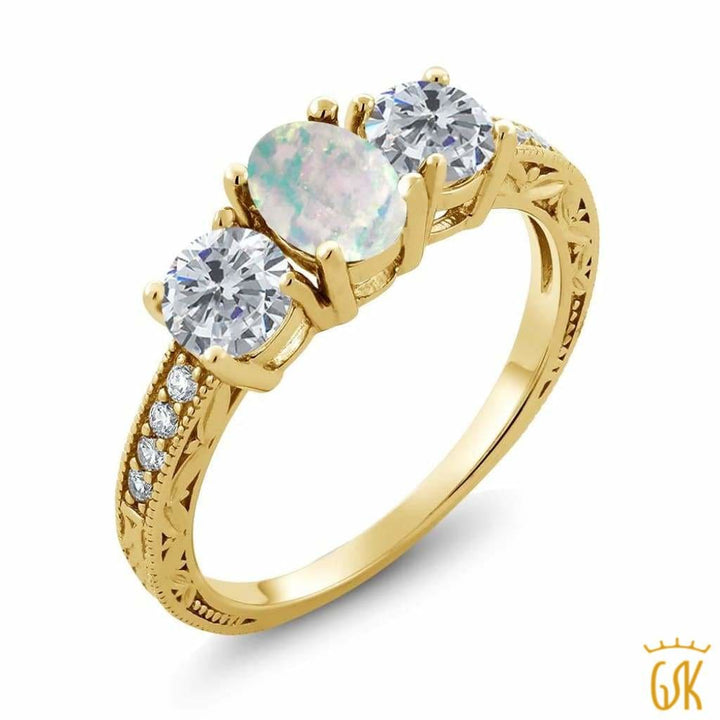 1.75 Ct Oval White Simulated Opal G/h Diamond 18K Yellow Gold Plated Silver Ring - Jewelry