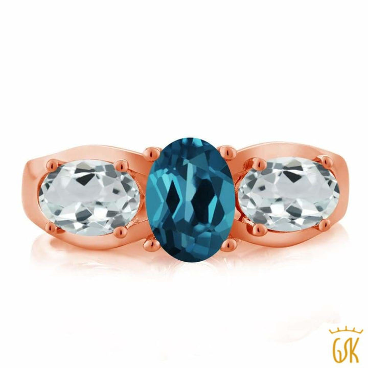 1.76 Ct London Blue Topaz Sky Blue Aquamarine 18K Rose Gold Plated Silver Ring - Jewelry