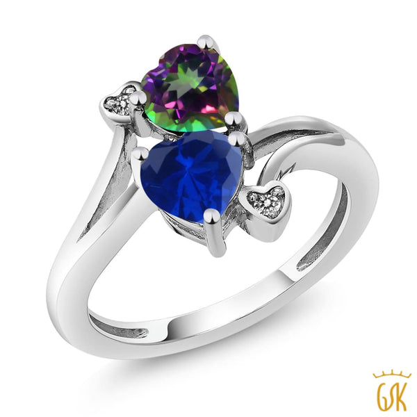 1.78 Ct Green Mystic Topaz Blue Simulated Sapphire 925 Sterling Silver Ring - Jewelry
