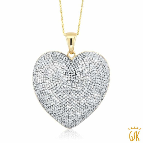 "10K Two-Tone 1.50 CTW  White Diamond 1"" Heart Shape Pendant With 10K Gold Chain"