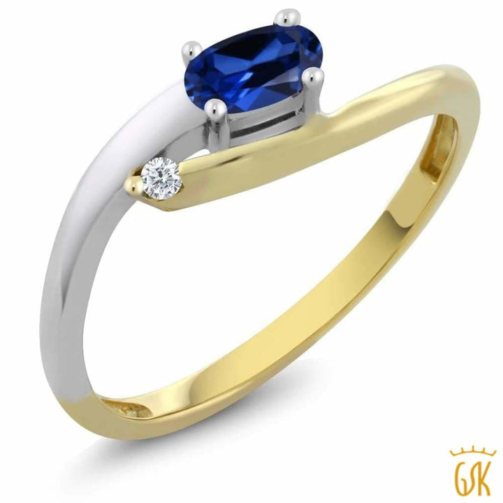 10K Two-Tone Diamond Accent Ring Oval Blue Simulated Sapphire 0.42 Cttw - Jewelry
