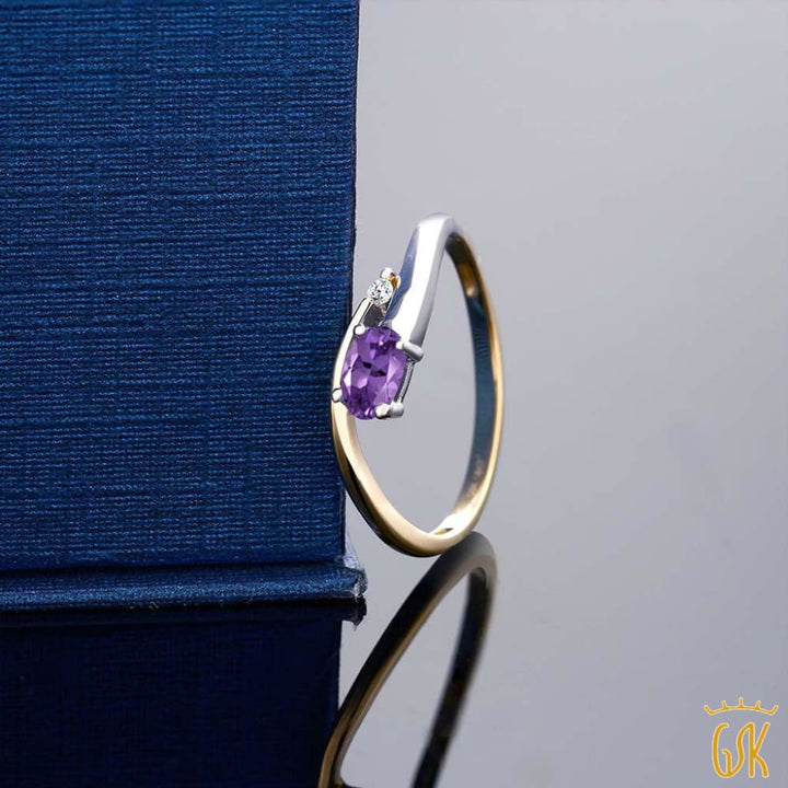 10K Two-Tone Diamond Accent Ring Oval Purple Amethyst 0.22 Cttw - Jewelry