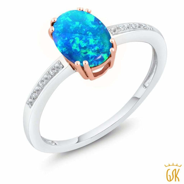10K Two Tone Gold 1.05 Ct Cabochon Blue Simulated Opal Diamond Engagement Ring - Jewelry