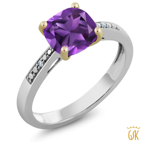 10K Two-Tone Gold Ring With Diamond Accent And Cushion Purple Amethyst 1.42 Cttw - Jewelry