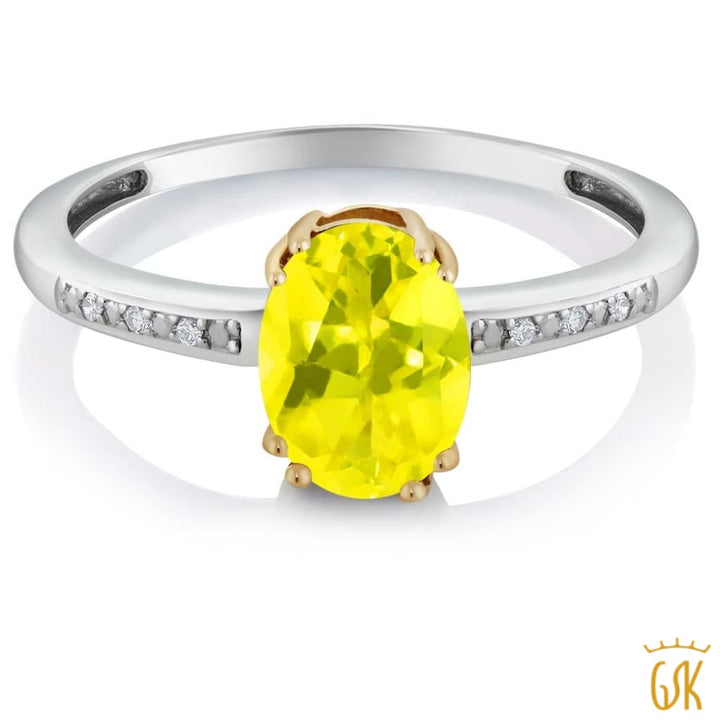 10K Two Tone Gold Womens Oval Canary Mystic Topaz Diamond Ring - Jewelry