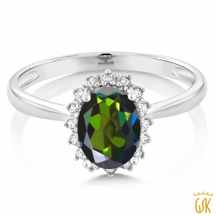 10K White Gold 0.80 Ct Oval Green Mystic Topaz Engagement Ring With Diamonds - Jewelry