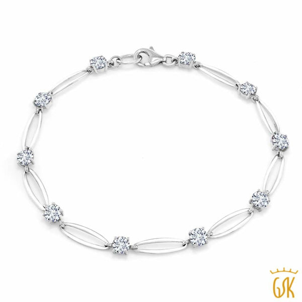 "10K White Gold Tennis Tennis Bracelet 7.5"" Forever Classic Round Created Moissanite 2.30ct DEW"