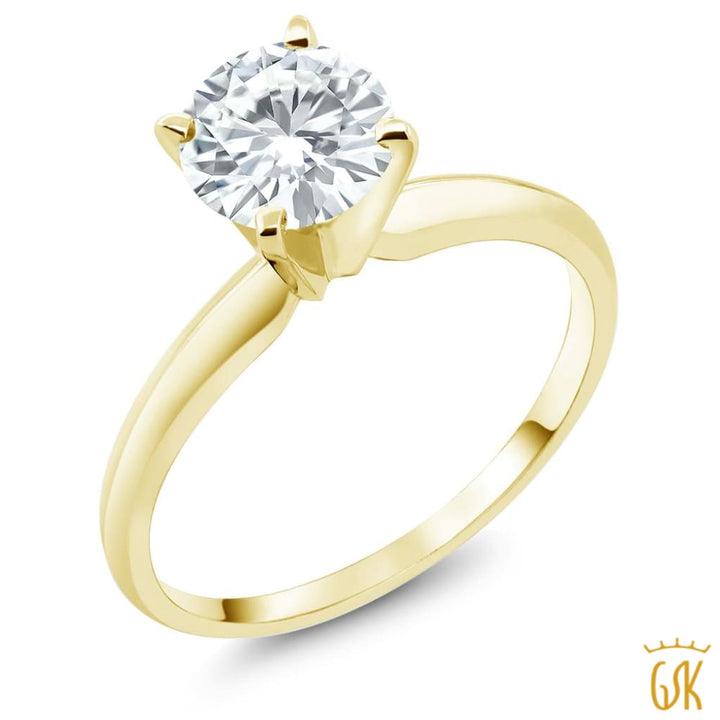 14K Yellow Gold Engagement 1 Ct Dew Solitaire Ring 6.5Mm Created Moissanite - Jewelry