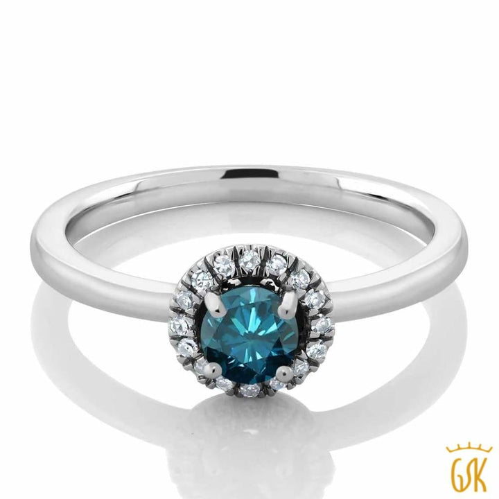 18K White Gold Diamond Halo Engagement Ring Set With 0.35 Ct Round Blue Diamond - Jewelry