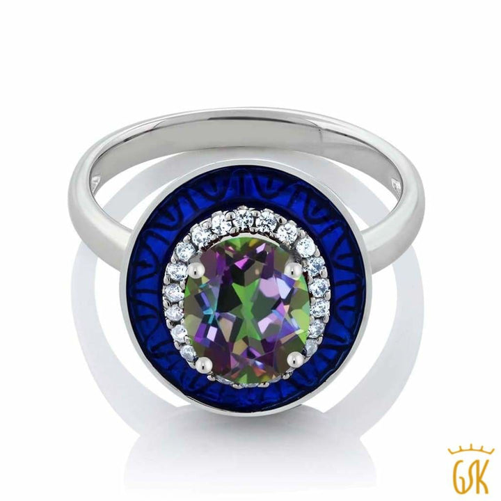 2.06 Ct Oval Green Mystic Topaz 925 Sterling Silver Womens Ring - Jewelry