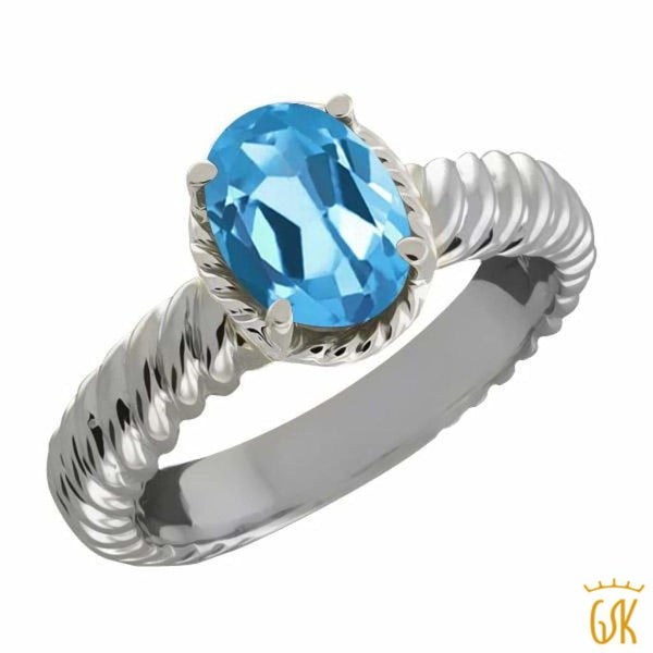 2.20 Ct Oval Swiss Blue Topaz 925 Sterling Silver Ring - Jewelry