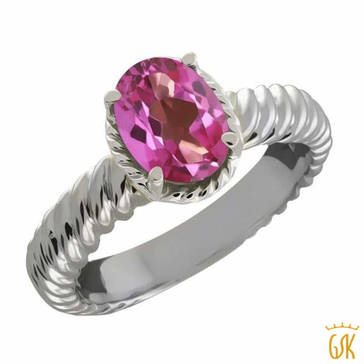 2.30 Ct Oval Pink Mystic Topaz 925 Sterling Silver Ring - Jewelry