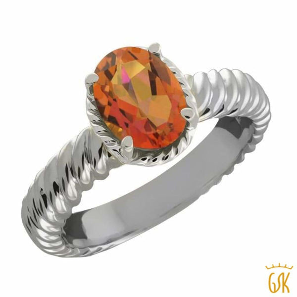 2.30 Ct Oval Twilight Orange Mystic Quartz 925 Sterling Silver Ring - Jewelry