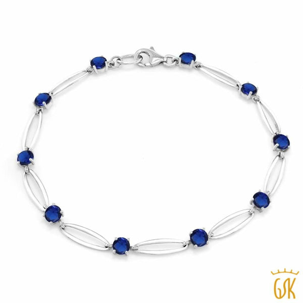 2.50 Ct Round Blue Simulated Sapphire 10K White Gold Tennis Tennis Bracelet 7.5""