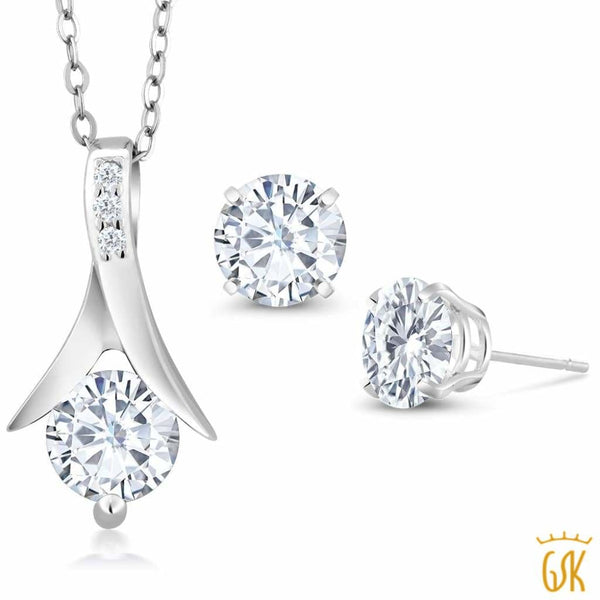 2.50 cttw DEW Round Created Moissanite 925 Sterling Silver Pendant Earrings Set
