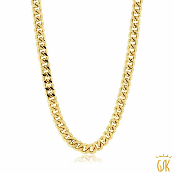 24K Gold Plated 24 Inch Brass Curb Chain Necklace For Men and Women