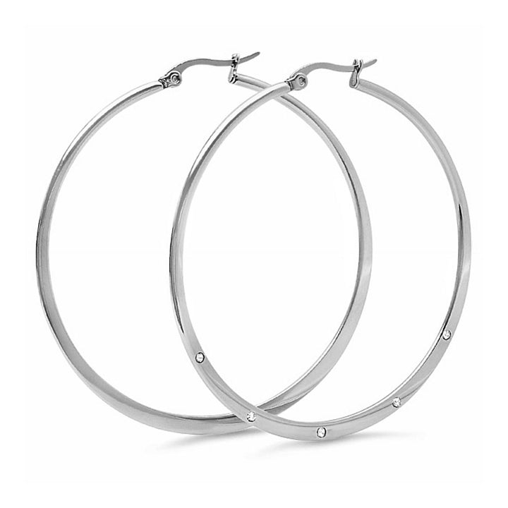 Gem Stone King 2 Inch Stainless Steel Silver Color Hoop Earrings with White Crystal