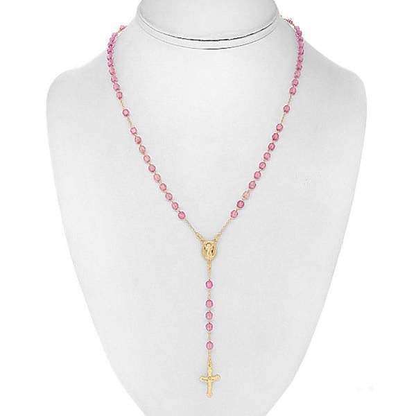 Pink Rosary Faceted 4mm Beads - 18'' Necklace - 21'' Overall Length