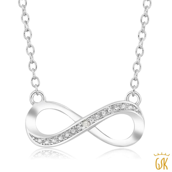 "925 Silver Infinity Necklace with Accent Diamond 17"" w/ 1.5"" Extender"