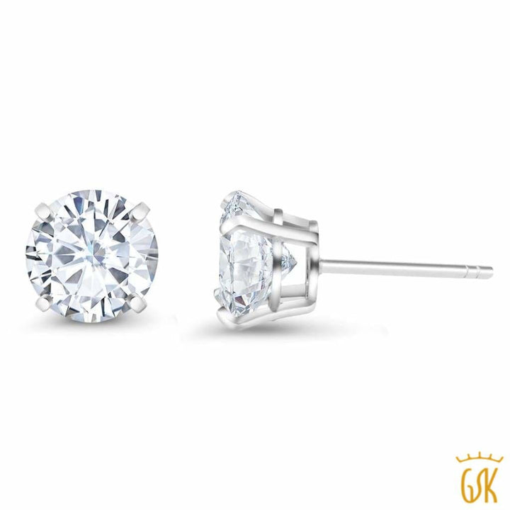 925 Sterling Silver 2.00 Cttw Dew Created Moissanite Studs - Jewelry