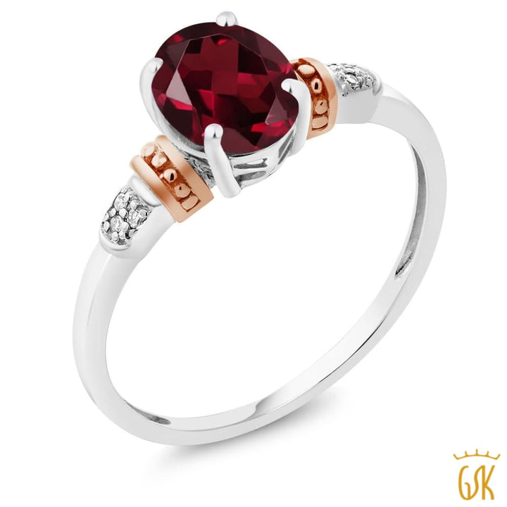 925 Sterling Silver And 10K Rose Gold Ring Rhodolite Garnet With Diamond Accent - Jewelry