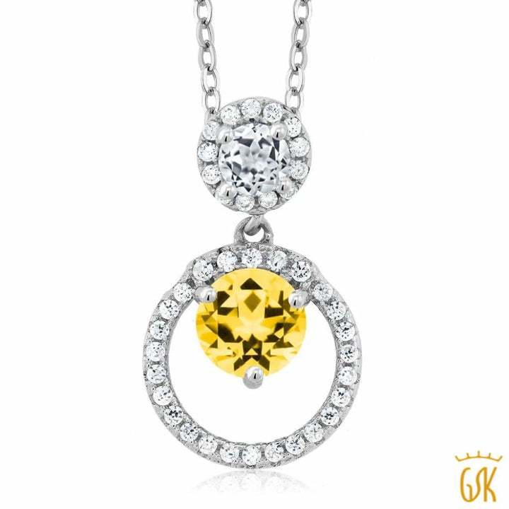 925 Sterling Silver Pendant Topaz Set With Round Honey Topaz From Swarovski - Jewelry
