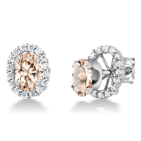 Gem Stone King 1.30 Ct Oval 7x5mm Peach Morganite 925 Sterling Silver Stud Earrings with Jackets