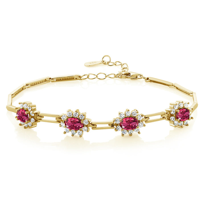 Gem Stone King 4.00 Ct Oval Pink Tourmaline 18K Yellow Gold Plated Silver Bracelet