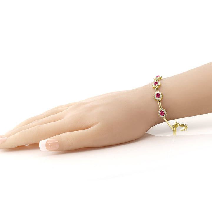 4.00 Ct Oval Pink Tourmaline 18K Yellow Gold Plated Silver Bracelet