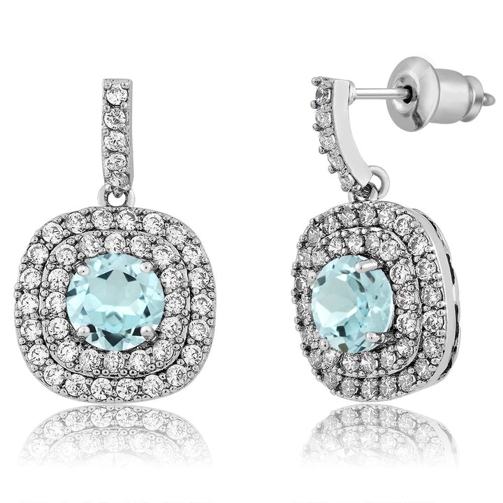Gem Stone King 2.92 Ct Round Sky Blue Topaz Rhodium Plated Brass Double Halo Earrings
