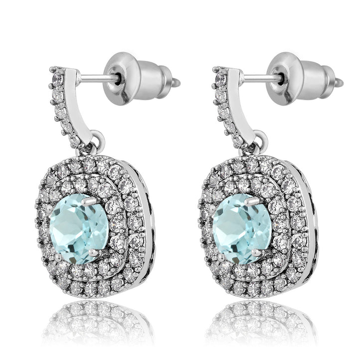 2.92 Ct Round Sky Blue Topaz Rhodium Plated Double Halo Earrings