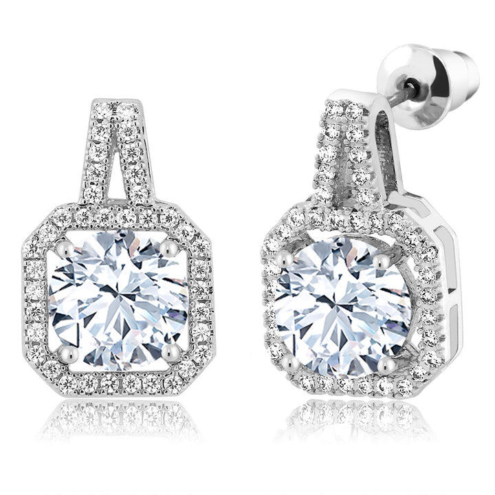 Gem Stone King 4.91 Ct Round White Zirconia Rhodium Plated Brass Double Halo Earrings