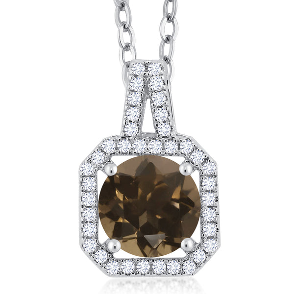 Gem Stone King 2.16 Ct Round Brown Smoky Quartz Rhodium Plated Brass Double Halo Pendant
