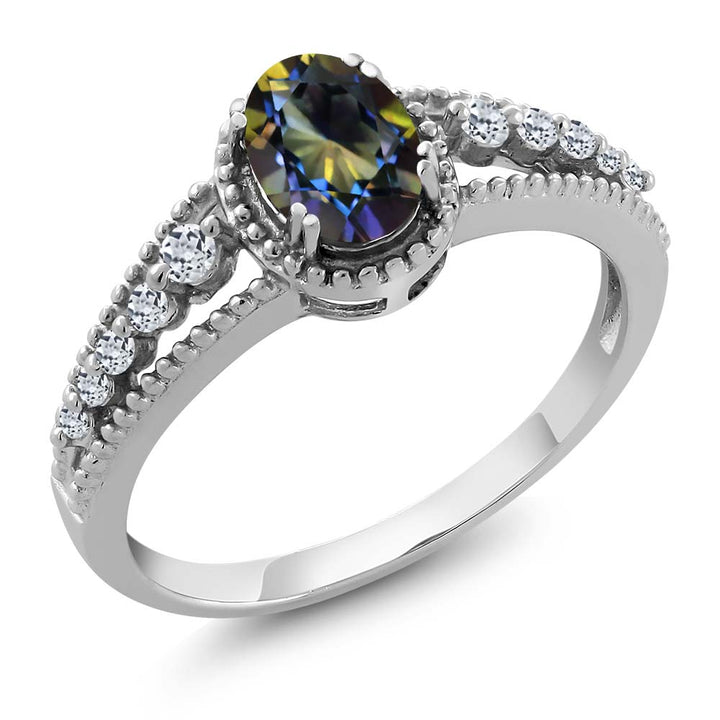 Gem Stone King 1.01 Ct Oval Blue Mystic Topaz White Topaz 925 Sterling Silver Ring