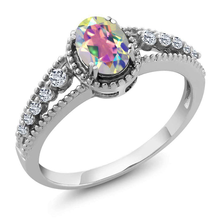 Gem Stone King 1.01 Ct Oval Mercury Mist Mystic Topaz White Topaz 925 Sterling Silver Ring (Available 5,6,7,8,9)