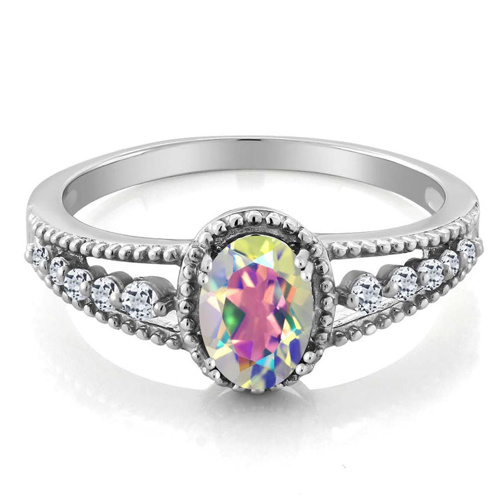 1.21 Ct Oval Mercury Mist Mystic Topaz White Topaz 925 Sterling Silver Ring
