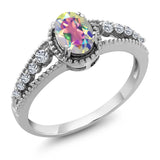 Gem Stone King 1.01 Ct Oval Mercury Mist Mystic Topaz White Topaz 925 Sterling Silver Ring (Size 5)