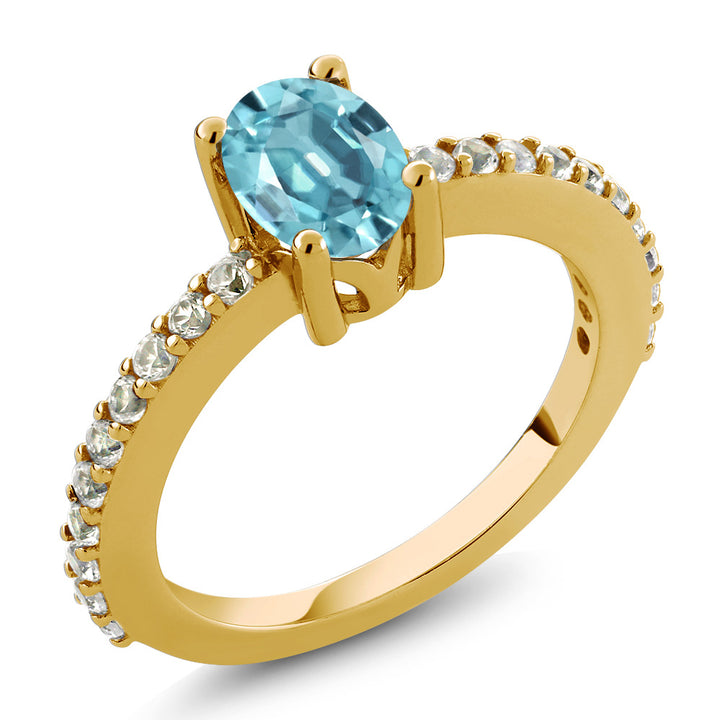 Gem Stone King 1.50 Ct Blue Zircon White Created Sapphire 18K Yellow Gold Plated Silver Ring (Available 5,6,7,8,9)