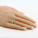 1.50 Ct Blue Zircon White Created Sapphire 18K Yellow Gold Plated Silver Ring