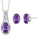 Gem Stone King 1.13 Ct Oval Purple Amethyst 925 Sterling Silver Pendant Earrings Set