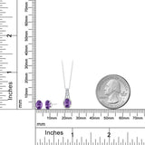 1.13 Ct Oval Purple Amethyst 925 Sterling Silver Pendant Earrings Set