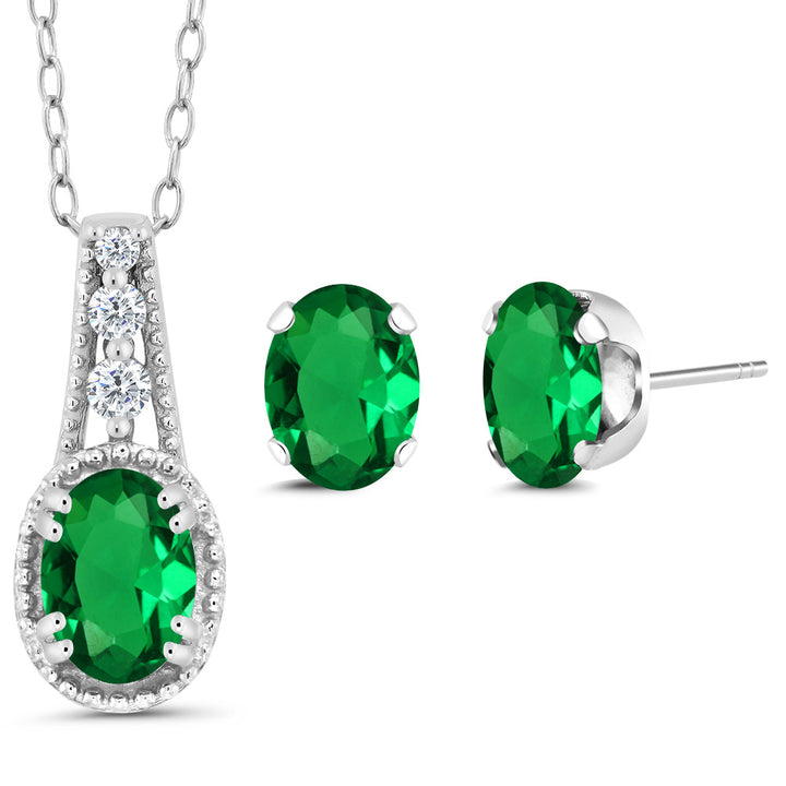 Gem Stone King 1.28 Ct Oval Green Simulated Emerald 925 Sterling Silver Pendant Earrings Set