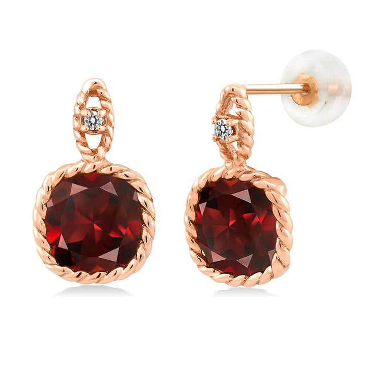 Gem Stone King 10K Rose Gold 5.48 Ct 8mm Cushion Red Garnet and Diamond Cable Earrings