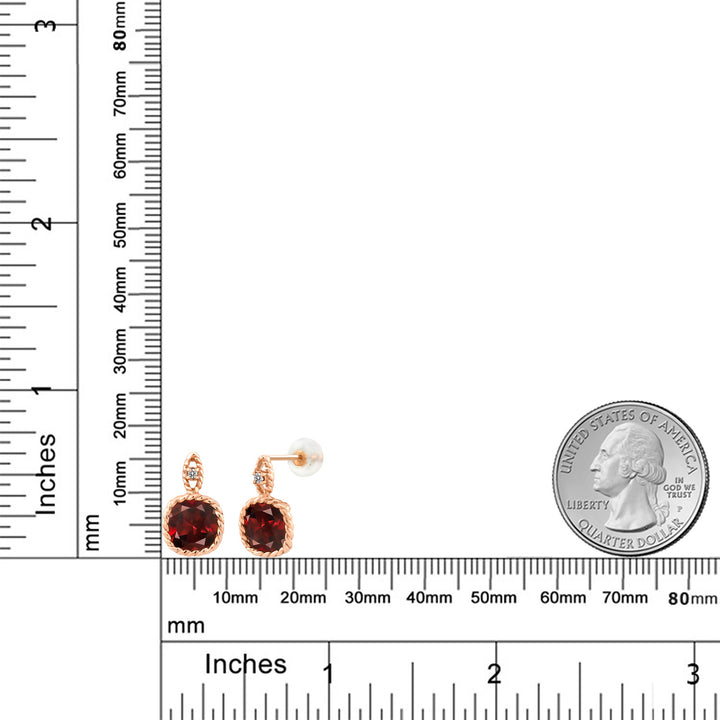 10K Rose Gold 5.48 Ct 8mm Cushion Red Garnet and Diamond Cable Earrings