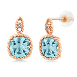 Gem Stone King 10K Rose Gold 5.48 Ct 8mm Cushion Sky Blue Topaz and Diamond Cable Earrings